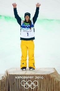 Aussie Torah Bright winning the Gold in the women's half pipe at the 2010 Vancouver Winter Olympics. Picture sourced from www.zimbio.com