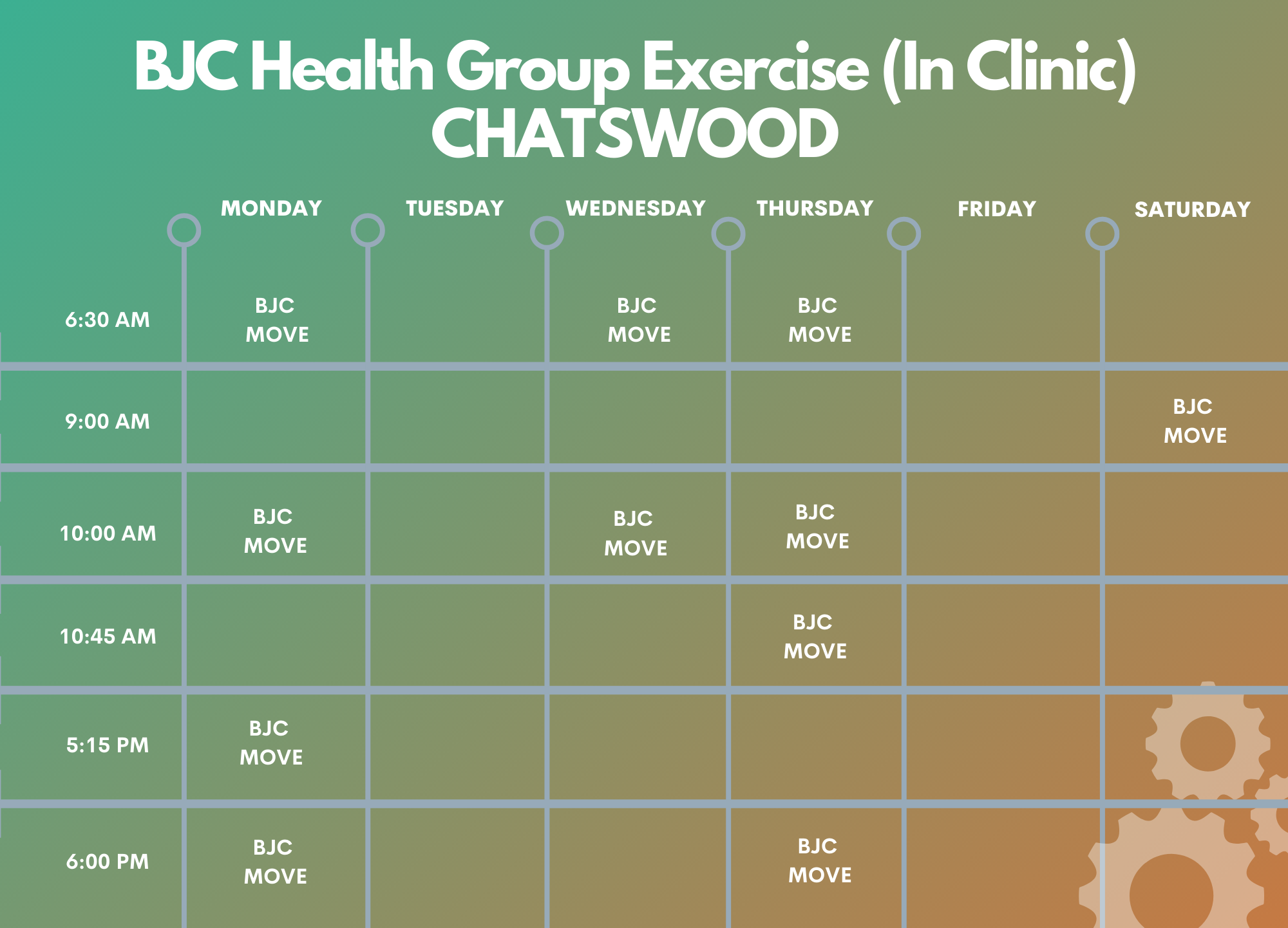 Chatswood BJC In Person Timetable