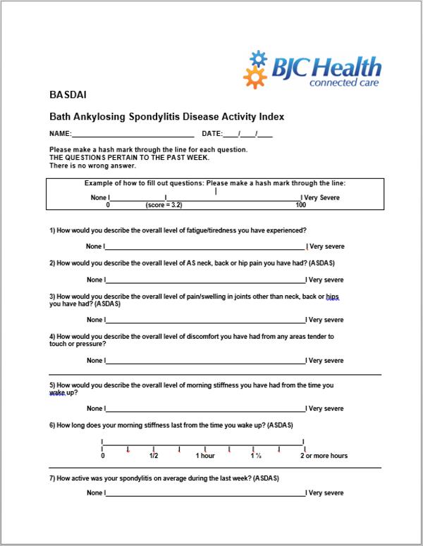 Bath Ankylosing Spondylitis Funcional Index